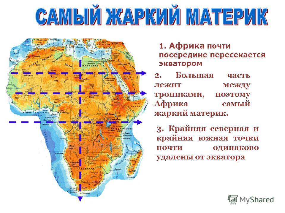 1. Африка почти посередине пересекается экватором 2. Большая часть лежит между тропиками, поэтому Африка самый жаркий материк. 3. Крайняя северная и крайняя южная точки почти одинаково удалены от экватора