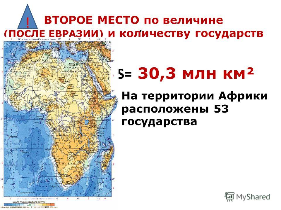 ВТОРОЕ МЕСТО по величине (ПОСЛЕ ЕВРАЗИИ) и количеству государств ! На территории Африки расположены 53 государства S= 30,3 млн км².