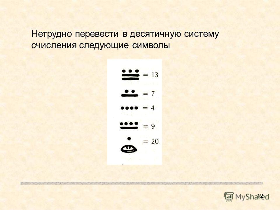 12 Нетрудно перевести в десятичную систему счисления следующие символы