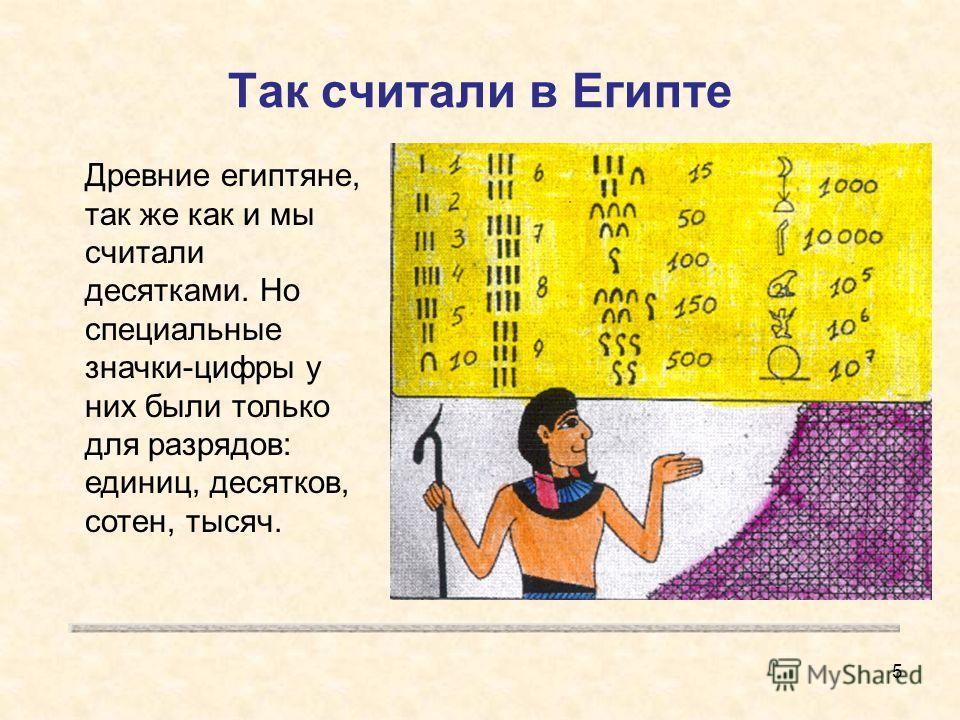Так считали в Египте Древние египтяне, так же как и мы считали десятками. Но специальные значки-цифры у них были только для разрядов: единиц, десятков, сотен, тысяч. 5