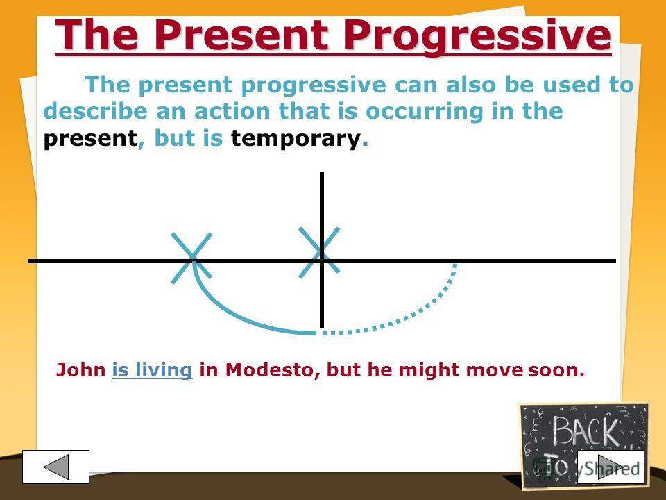 The Present Progressive This tense is used to describe an action that is occurring right now (at this moment, today, this year, etc.). The action has begun and is still in progress. She is typing a paper for her class. He cant speak. He is fixing the