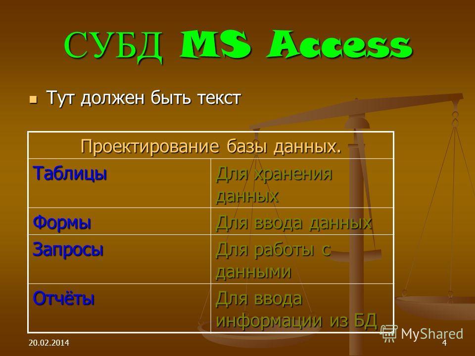 20.02.20144 СУБД MS Access Тут должен быть текст Тут должен быть текст Проектирование базы данных. Таблицы Для хранения данных Формы Для ввода данных Запросы Для работы с данными Отчёты Для ввода информации из БД