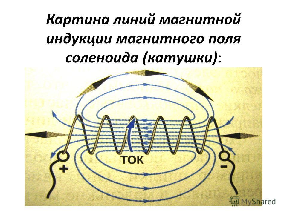 Картина линий магнитной индукции магнитного поля соленоида (катушки):