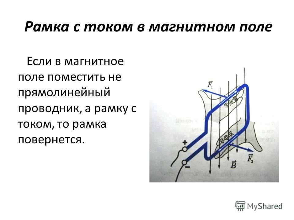Рамка с током в магнитном поле Если в магнитное поле поместить не прямолинейный проводник, а рамку с током, то рамка повернется.