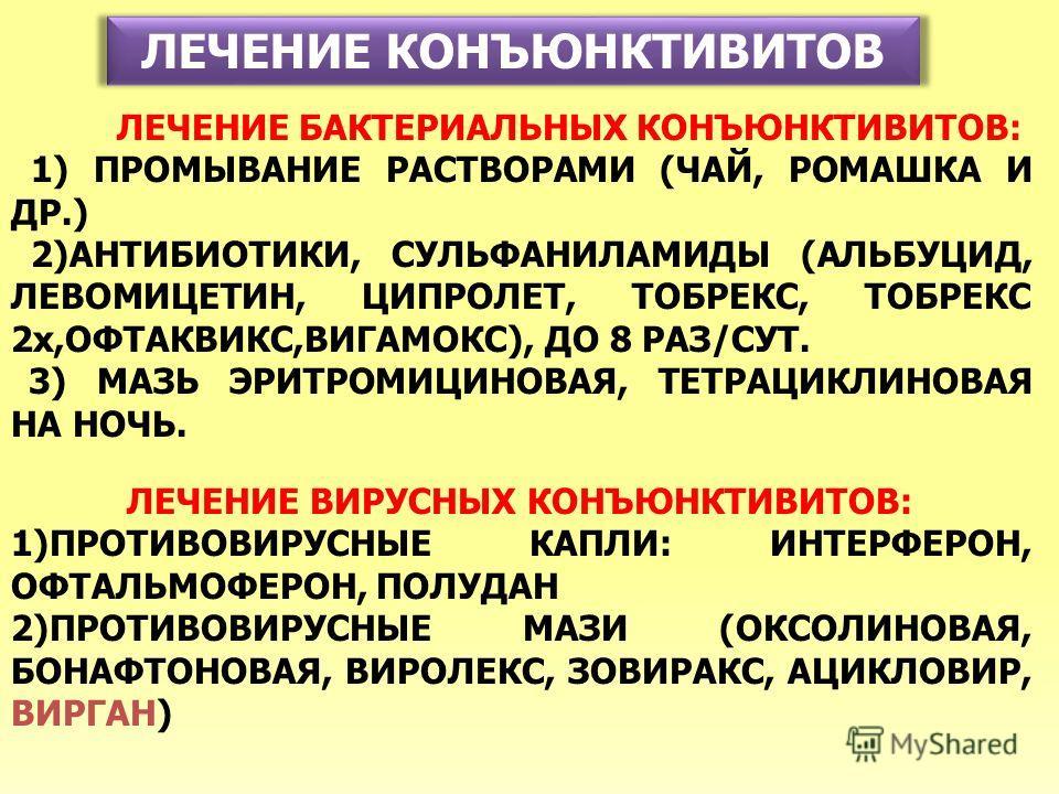 ЛЕЧЕНИЕ КОНЪЮНКТИВИТОВ ЛЕЧЕНИЕ БАКТЕРИАЛЬНЫХ КОНЪЮНКТИВИТОВ: 1) ПРОМЫВАНИЕ РАСТВОРАМИ (ЧАЙ, РОМАШКА И ДР.) 2)АНТИБИОТИКИ, СУЛЬФАНИЛАМИДЫ (АЛЬБУЦИД, ЛЕВОМИЦЕТИН, ЦИПРОЛЕТ, ТОБРЕКС, ТОБРЕКС 2x,ОФТАКВИКС,ВИГАМОКС), ДО 8 РАЗ/СУТ. 3) МАЗЬ ЭРИТРОМИЦИНОВАЯ,
