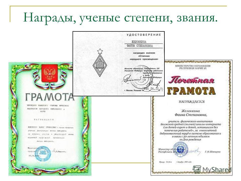 Награды, ученые степени, звания.