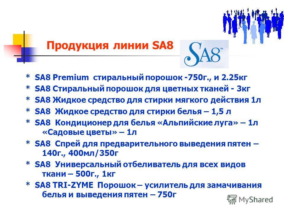 Продукция линии SA8 * SA8 Premium стиральный порошок -750г., и 2.25кг * SA8 Стиральный порошок для цветных тканей - 3кг * SA8 Жидкое средство для стирки мягкого действия 1л * SA8 Жидкое средство для стирки белья – 1,5 л * SA8 Кондиционер для белья «А