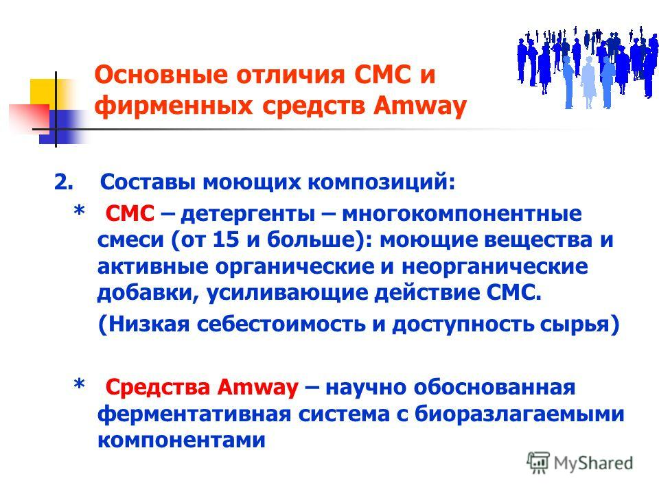 Основные отличия СМС и фирменных средств Amway 2. Составы моющих композиций: * СМС – детергенты – многокомпонентные cмеси (от 15 и больше): моющие вещества и активные органические и неорганические добавки, усиливающие действие СМС. (Низкая себестоимо