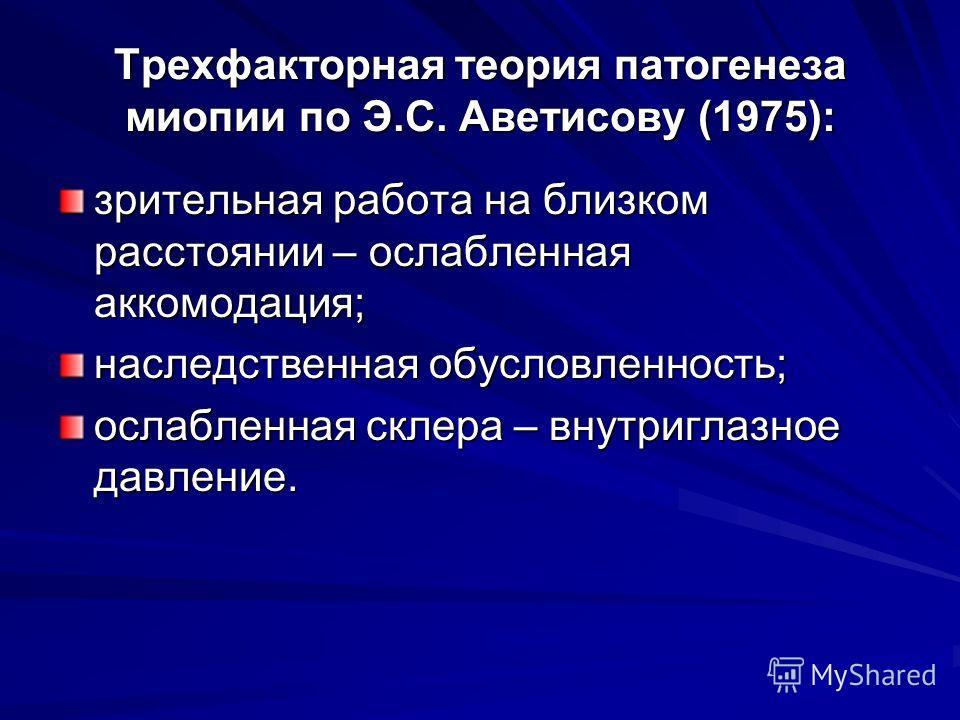 Трехфакторная теория патогенеза миопии по Э.С. Аветисову (1975): зрительная работа на близком расстоянии – ослабленная аккомодация; наследственная обусловленность; ослабленная склера – внутриглазное давление.