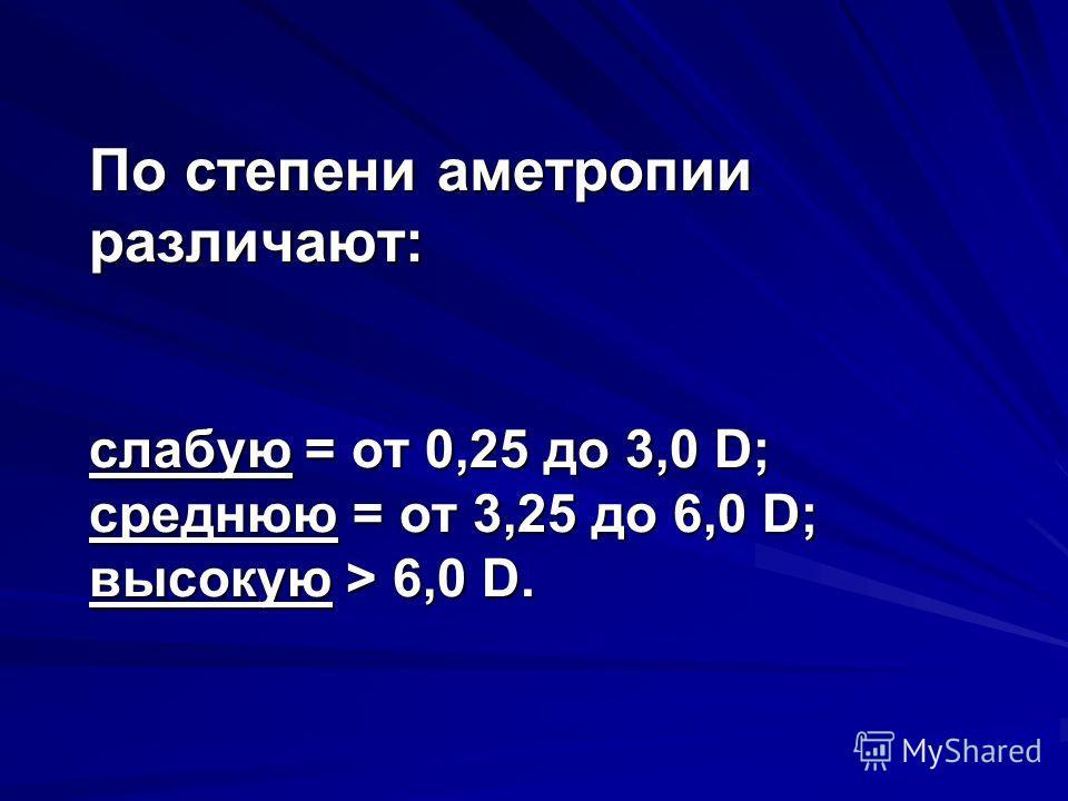 По степени аметропии различают: слабую = от 0,25 до 3,0 D; среднюю = от 3,25 до 6,0 D; высокую > 6,0 D.