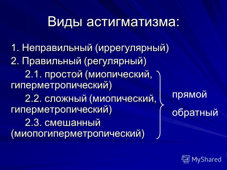 1. Неправильный (иррегулярный) 2. Правильный (регулярный) 2.1. простой (миопический, гиперметропический) 2.2. сложный (миопический, гиперметропический) 2.3. смешанный (миопогиперметропический) Виды астигматизма: прямой обратный
