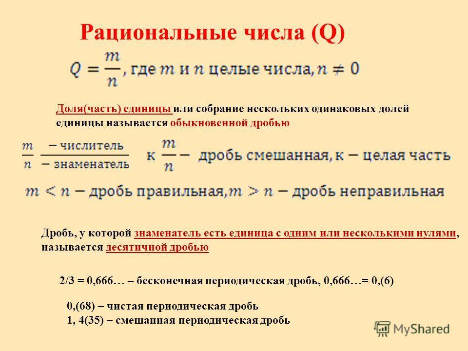 Рациональные числа (Q) Доля(часть) единицы или собрание нескольких одинаковых долей единицы называется обыкновенной дробью Дробь, у которой знаменатель есть единица с одним или несколькими нулями, называется десятичной дробью 2/3 = 0,666… – бесконечн