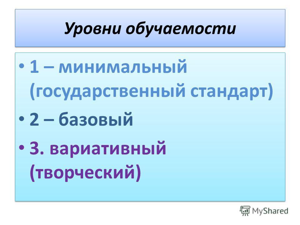 Уровни обучаемости 1 – минимальный (государственный стандарт) 2 – базовый 3. вариативный (творческий) 1 – минимальный (государственный стандарт) 2 – базовый 3. вариативный (творческий)