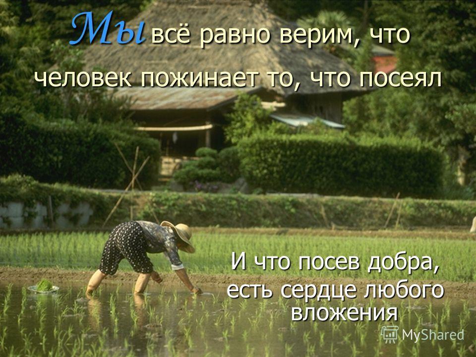 Мы всё равно верим, что человек пожинает то, что посеял И что посев добра, есть сердце любого вложения