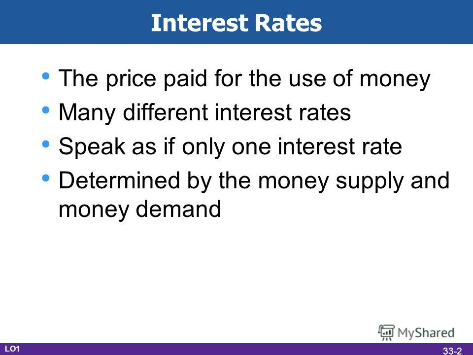 Interest Rates The price paid for the use of money Many different interest rates Speak as if only one interest rate Determined by the money supply and money demand LO1 33-2