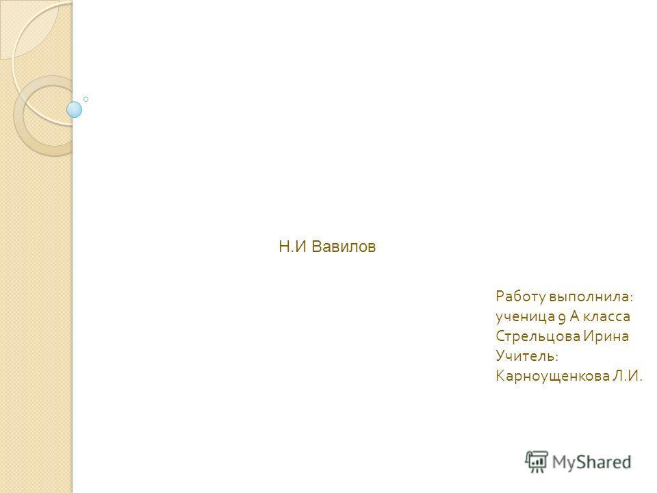 Работу выполнила : ученица 9 А класса Стрельцова Ирина Учитель : Карноущенкова Л. И. Н.И Вавилов