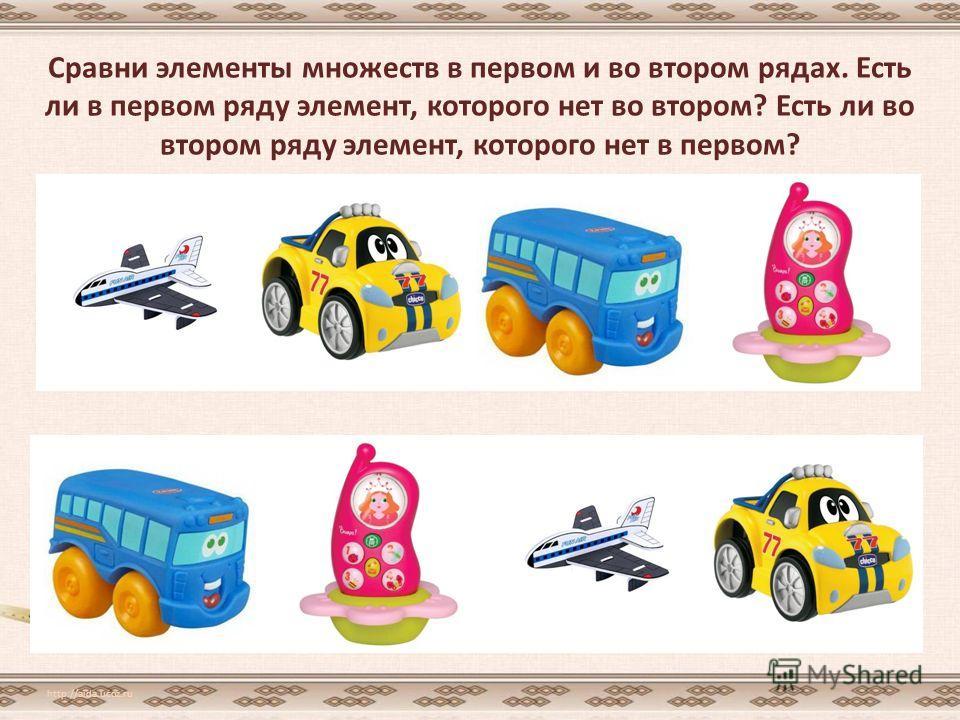 Сравни элементы множеств в первом и во втором рядах. Есть ли в первом ряду элемент, которого нет во втором? Есть ли во втором ряду элемент, которого нет в первом? http://aida.ucoz.ru