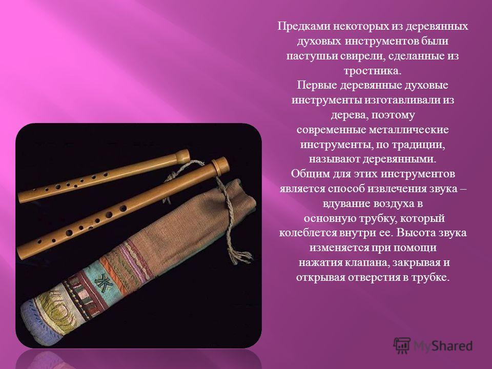 Предками некоторых из деревянных духовых инструментов были пастушьи свирели, сделанные из тростника. Первые деревянные духовые инструменты изготавливали из дерева, поэтому современные металлические инструменты, по традиции, называют деревянными. Общи