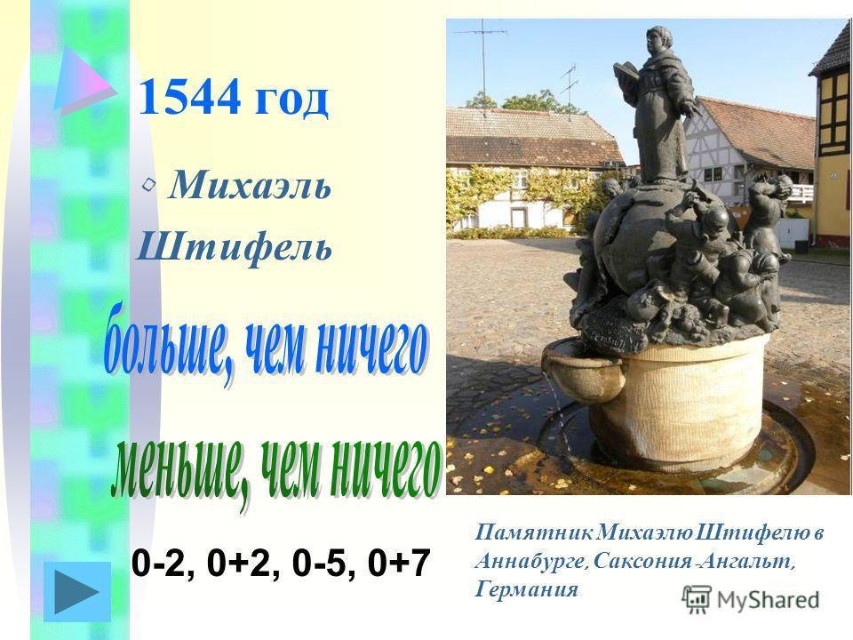 1544 год Михаэль Штифель Памятник Михаэлю Штифелю в Аннабурге, Саксония - Ангальт, Германия 0-2, 0+2, 0-5, 0+7