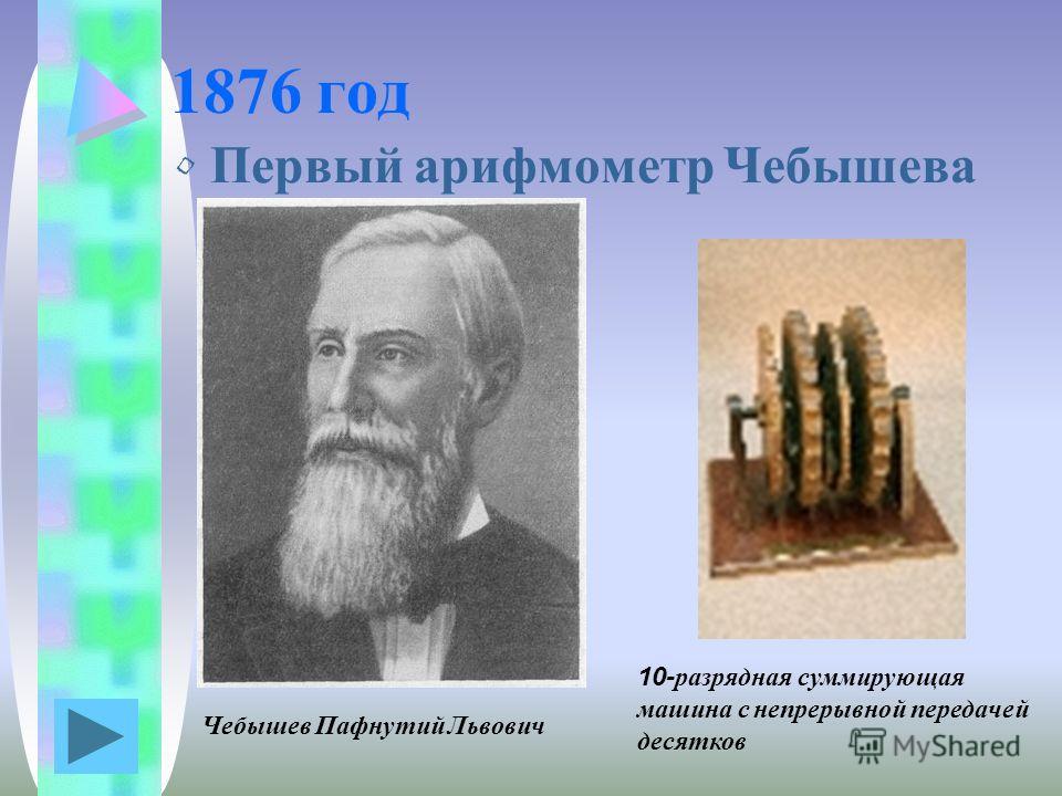 1876 год Первый арифмометр Чебышева Чебышев Пафнутий Львович 10-разрядная суммирующая машина с непрерывной передачей десятков