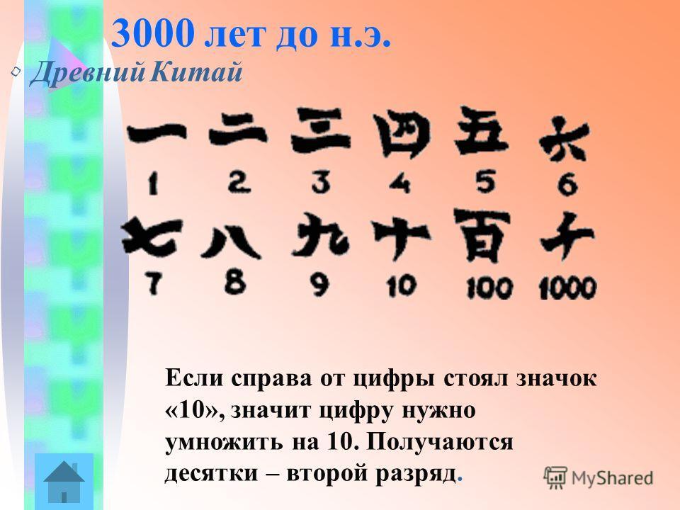 3000 лет до н.э. Древний Китай Если справа от цифры стоял значок «10», значит цифру нужно умножить на 10. Получаются десятки – второй разряд.
