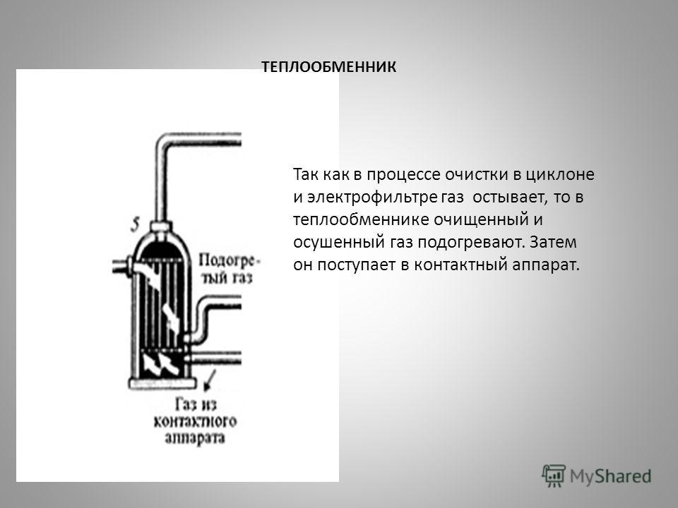 ТЕПЛООБМЕННИК Так как в процессе очистки в циклоне и электрофильтре газ остывает, то в теплообменнике очищенный и осушенный газ подогревают. Затем он поступает в контактный аппарат.