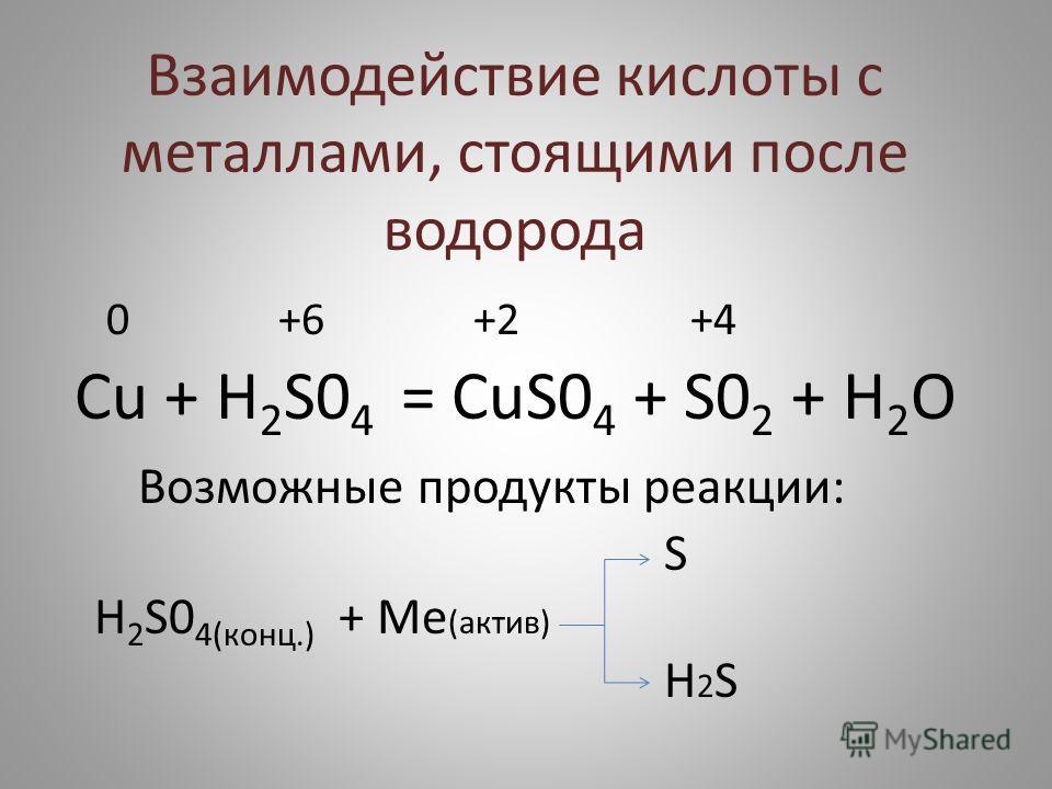 Взаимодействие кислоты с металлами, стоящими после водорода 0 +6 +2 +4 Сu + H 2 S0 4 = CuS0 4 + S0 2 + H 2 O Возможные продукты реакции: S H 2 S0 4(конц.) + Ме (актив) H 2 S