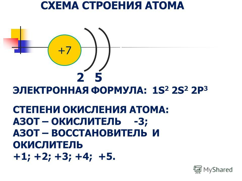 СХЕМА СТРОЕНИЯ АТОМА 2 5 ЭЛЕКТРОННАЯ ФОРМУЛА: 1S 2 2S 2 2P 3 СТЕПЕНИ ОКИСЛЕНИЯ АТОМА: АЗОТ – ОКИСЛИТЕЛЬ -3; АЗОТ – ВОССТАНОВИТЕЛЬ И ОКИСЛИТЕЛЬ +1; +2; +3; +4; +5. +7