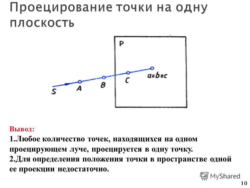 10 Вывод: 1.Любое количество точек, находящихся на одном проецирующем луче, проецируется в одну точку. 2.Для определения положения точки в пространстве одной ее проекции недостаточно.