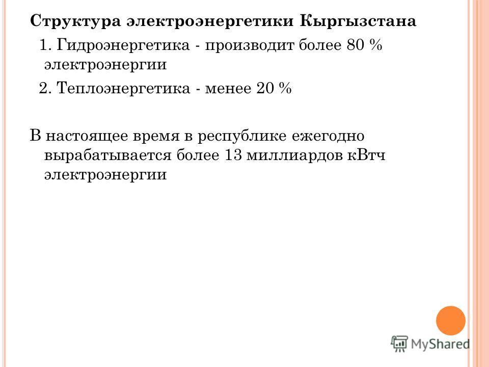 Структура электроэнергетики Кыргызстана 1. Гидроэнергетика - производит более 80 % электроэнергии 2. Теплоэнергетика - менее 20 % В настоящее время в республике ежегодно вырабатывается более 13 миллиардов кВтч электроэнергии