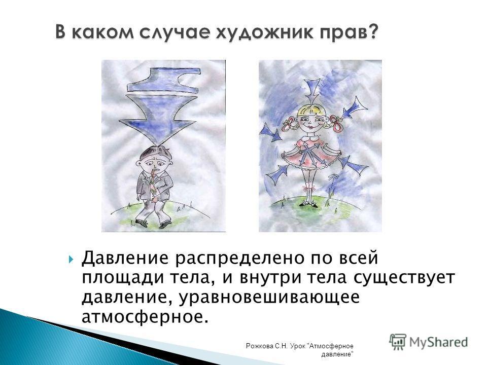 Давление распределено по всей площади тела, и внутри тела существует давление, уравновешивающее атмосферное. В каком случае художник прав? Рожкова С.Н. Урок Атмосферное давление