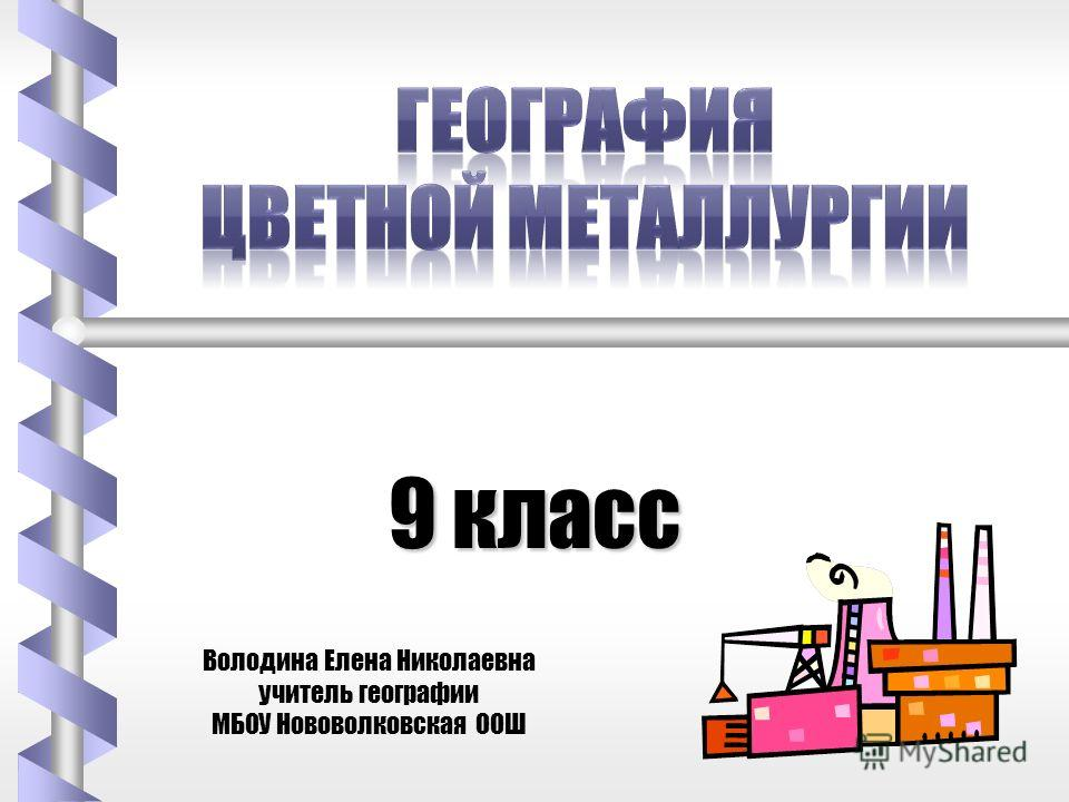 9 класс Володина Елена Николаевна учитель географии МБОУ Нововолковская ООШ