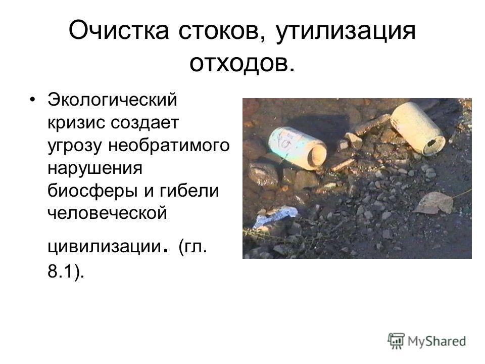 Очистка стоков, утилизация отходов. Экологический кризис создает угрозу необратимого нарушения биосферы и гибели человеческой цивилизации. (гл. 8.1).