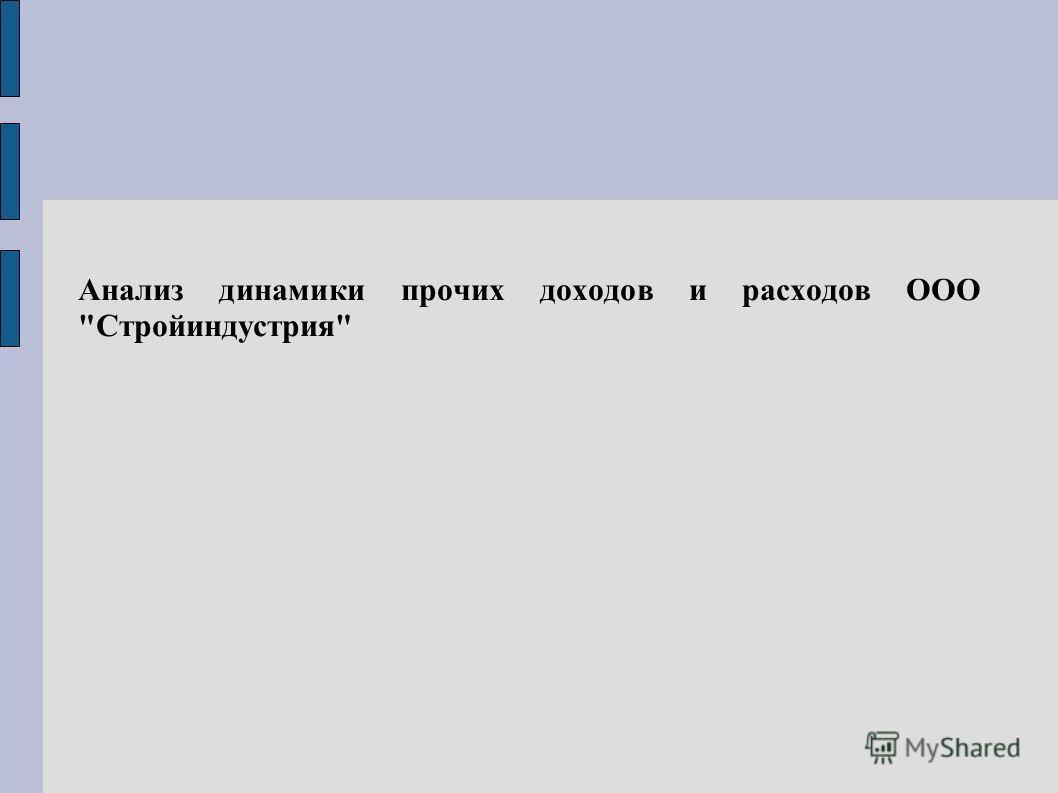 Анализ динамики прочих доходов и расходов ООО Стройиндустрия