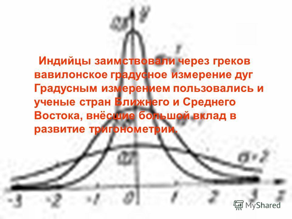 Индийцы заимствовали через греков вавилонское градусное измерение дуг Градусным измерением пользовались и ученые стран Ближнего и Среднего Востока, внёсшие большой вклад в развитие тригонометрии.