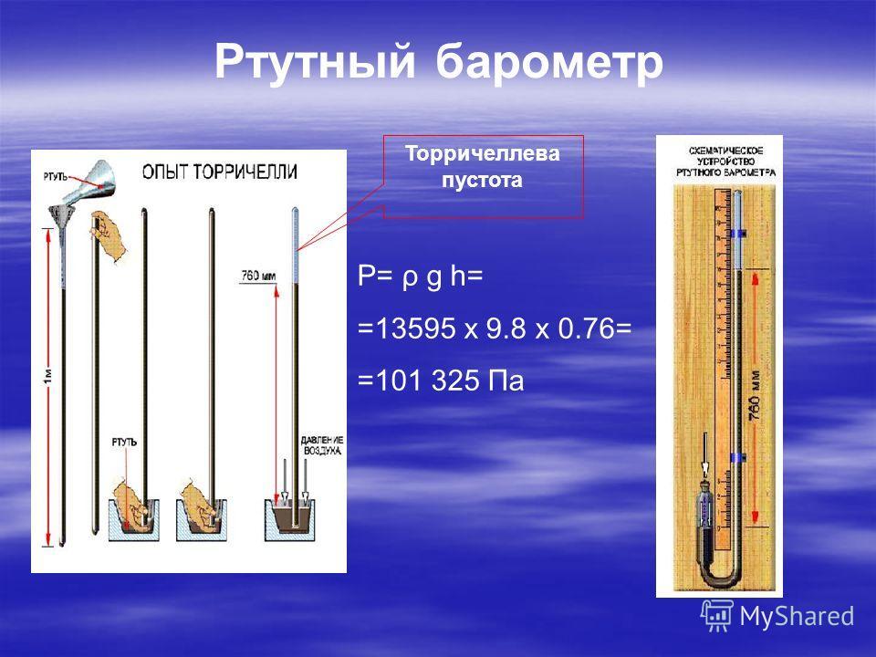 Ртутный барометр Торричеллева пустота P= ρ g h= =13595 х 9.8 х 0.76= =101 325 Па