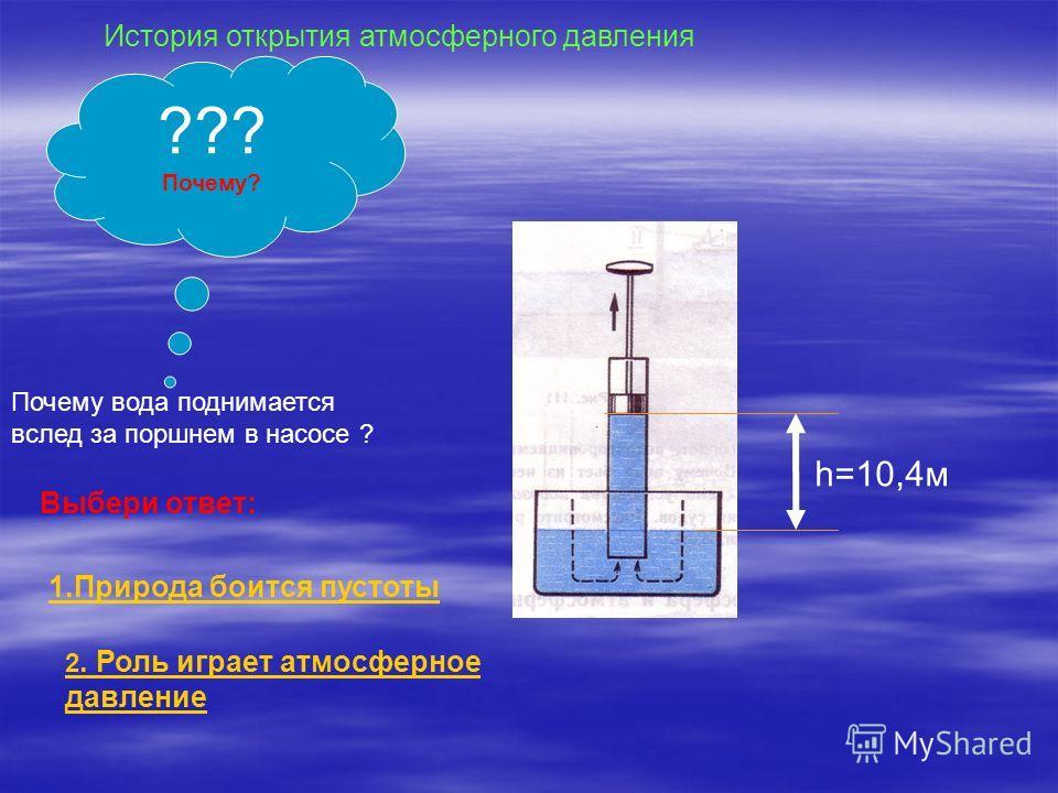 ??? Почему? Почему вода поднимается вслед за поршнем в насосе ? Выбери ответ: 1.Природа боится пустоты 2. Роль играет атмосферное давление История открытия атмосферного давления h=10,4м