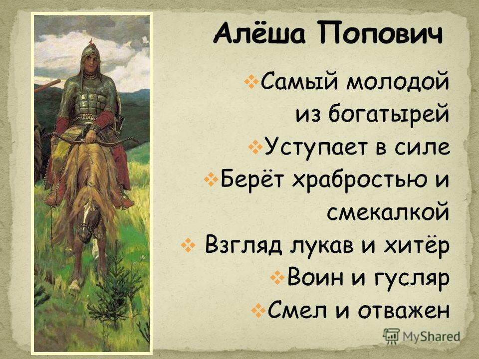 Самый молодой из богатырей Уступает в силе Берёт храбростью и смекалкой Взгляд лукав и хитёр Воин и гусляр Смел и отважен
