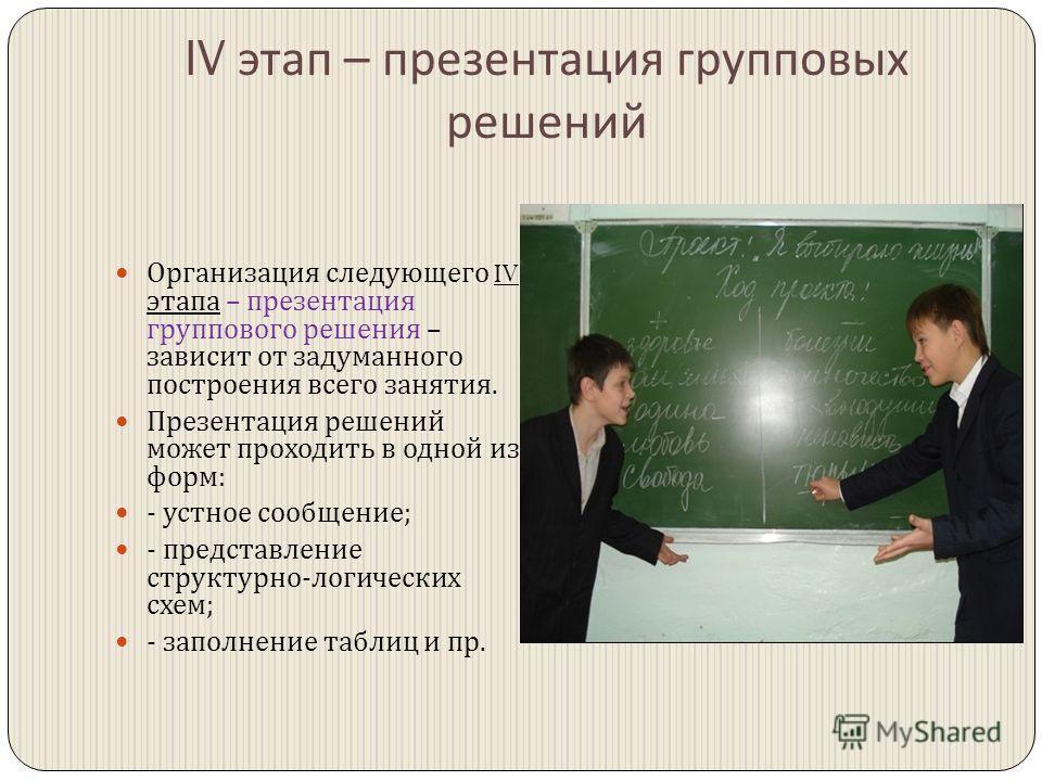 IV этап – презентация групповых решений Организация следующего IV этапа – презентация группового решения – зависит от задуманного построения всего занятия. Презентация решений может проходить в одной из форм : - устное сообщение ; - представление стр