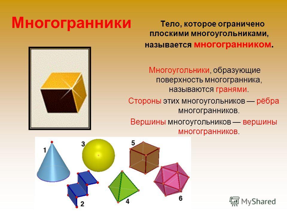 Многогранники Тело, которое ограничено плоскими многоугольниками, называется многогранником. Многоугольники, образующие поверхность многогранника, называются гранями. Стороны этих многоугольников рёбра многогранников. Вершины многоугольников вершины