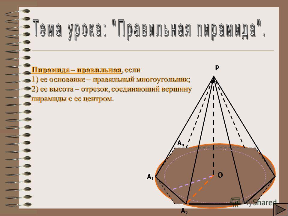 Пирамида – правильная, если 1) ее основание – правильный многоугольник; 2) ее высота – отрезок, соединяющий вершину пирамиды с ее центром. А2А2 АnАn А1А1 Р О