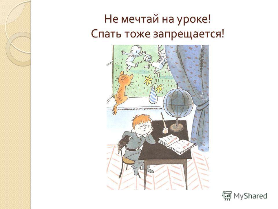 Не мечтай на уроке ! Спать тоже запрещается !