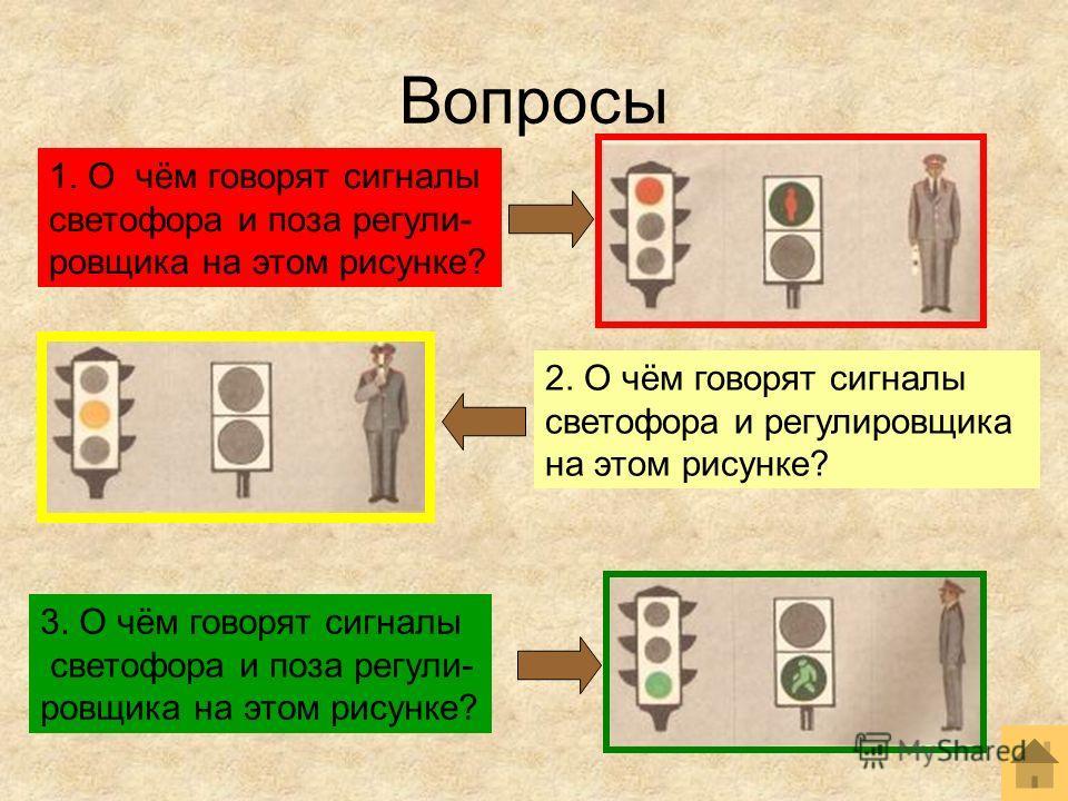 Вопросы 1. О чём говорят сигналы светофора и поза регули- ровщика на этом рисунке? 2. О чём говорят сигналы светофора и регулировщика на этом рисунке? 3. О чём говорят сигналы светофора и поза регули- ровщика на этом рисунке?