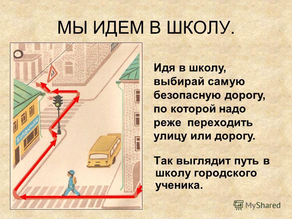 МЫ ИДЕМ В ШКОЛУ. О.files\Копия pict11.jpg Так выглядит путь в школу городского ученика. Идя в школу, выбирай самую безопасную дорогу, по которой надо реже переходить улицу или дорогу.