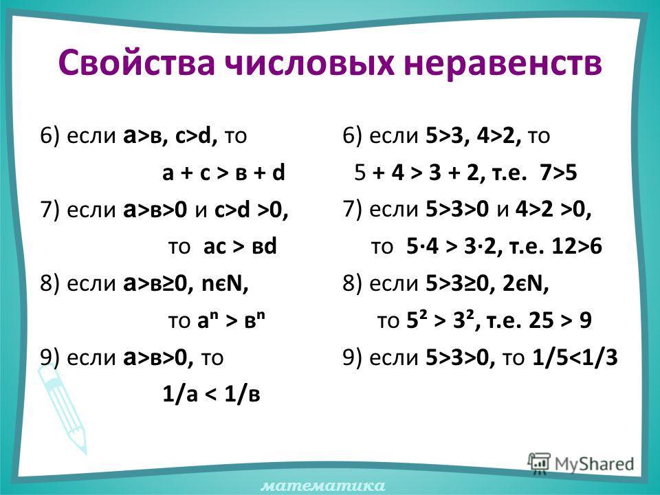 математика Свойства числовых неравенств 6) если а >в, с>d, то а + с > в + d 7) если а >в>0 и с>d >0, то ас > вd 8) если а >в0, nєN, то а > в 9) если а >в>0, то 1/а < 1/в 6) если 5>3, 4>2, то 5 + 4 > 3 + 2, т.е. 7>5 7) если 5>3>0 и 4>2 >0, то 5·4 > 3·