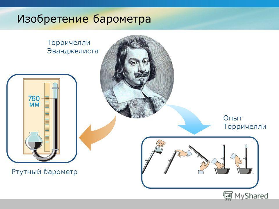 Изобретение барометра Торричелли Эванджелиста Ртутный барометр Опыт Торричелли