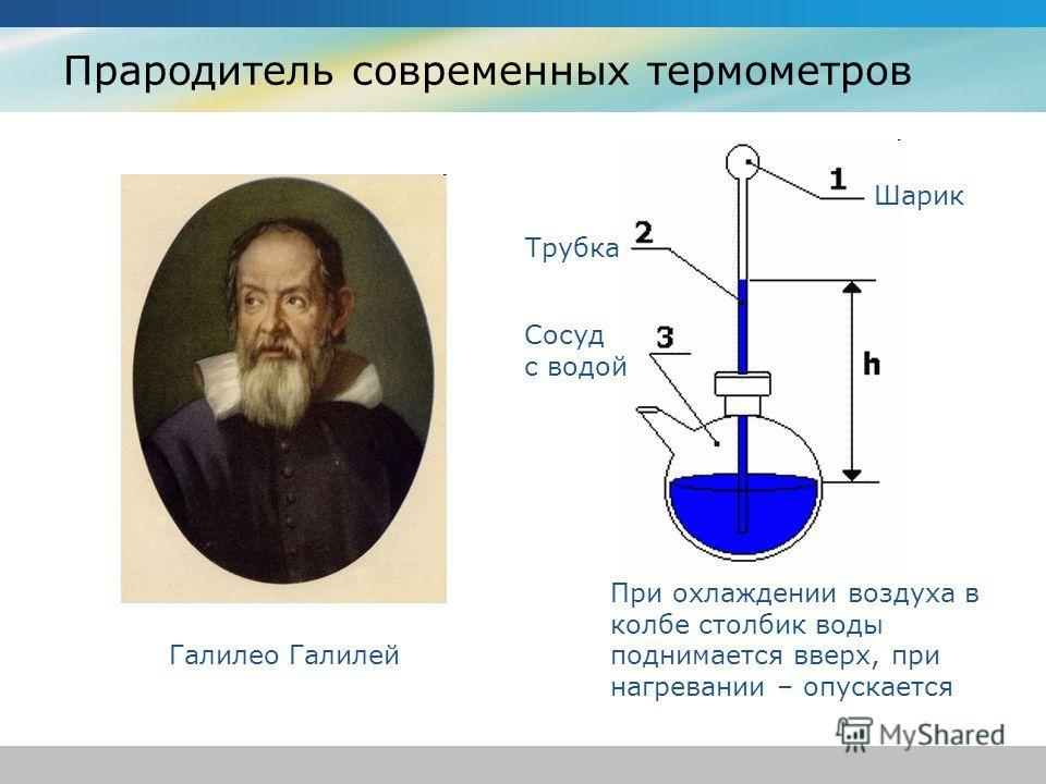 Прародитель современных термометров Галилео Галилей При охлаждении воздуха в колбе столбик воды поднимается вверх, при нагревании – опускается Шарик Трубка Сосуд с водой