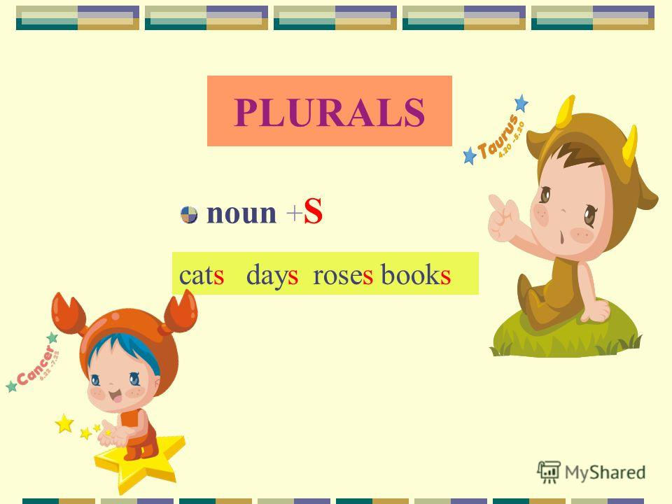 PLURALS noun + S catsdaysrosesbooks