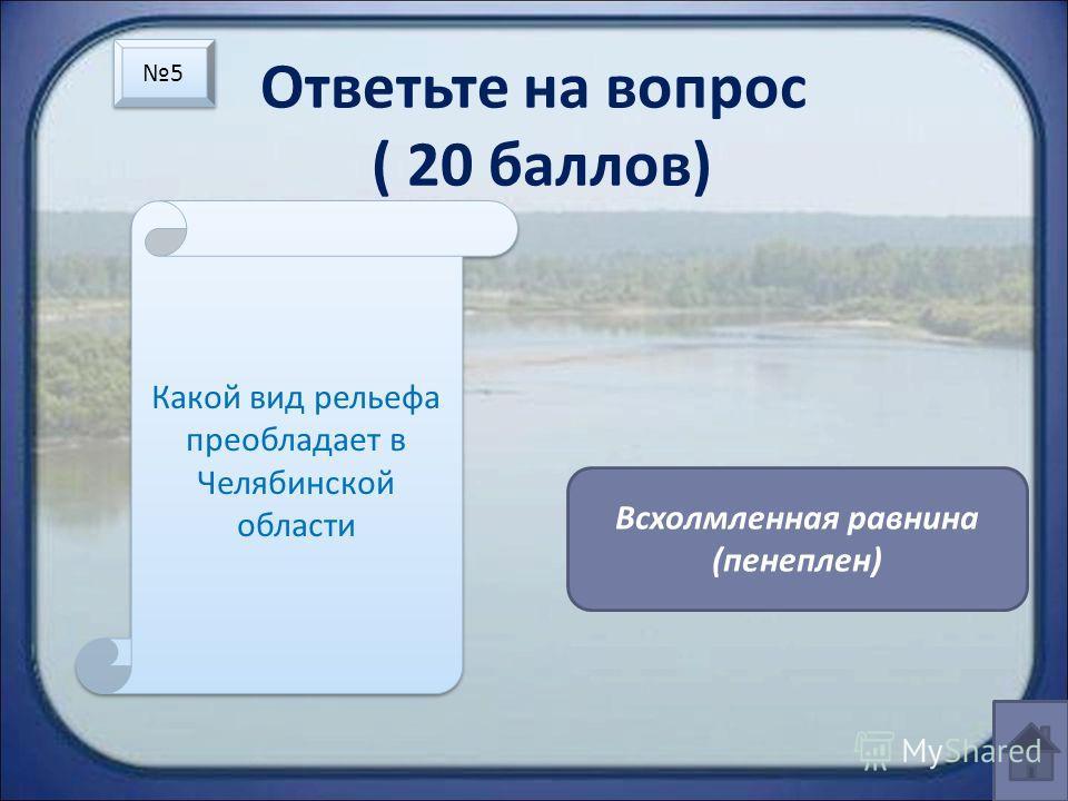 Ответьте на вопрос ( 20 баллов) Какой вид рельефа преобладает в Челябинской области Всхолмленная равнина (пенеплен) 5 5
