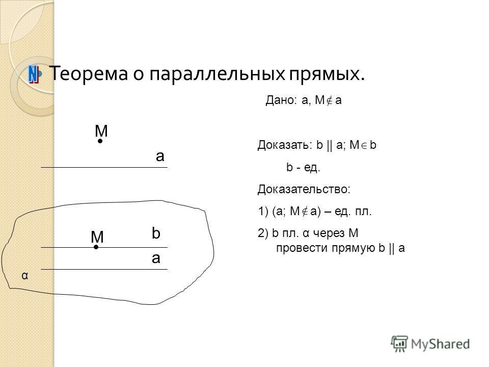 Теорема о параллельных прямых. а a α M Дано: a, M a Доказать: b || a; M b b - ед. Доказательство: 1) (a; M a) – ед. пл. 2) b пл. α через M провести прямую b || a M b